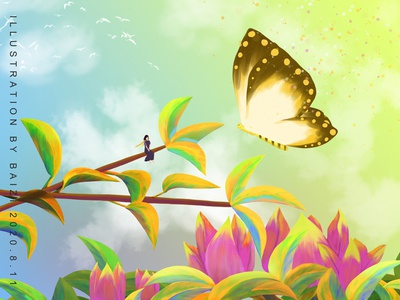 Free time practice flower design butterfly illustration