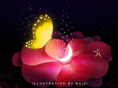 2020.10.26 Monday moon butterfly 插图 flower illustration