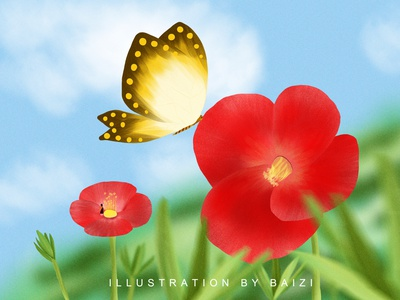2020.10.28 Wednesday cure 插图 butterfly flower illustration