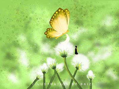 2020.11.5 Thursday 插图 moon butterfly flower illustration