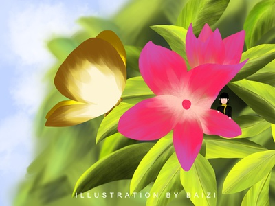 2020.11.9 Monday butterfly flower illustration
