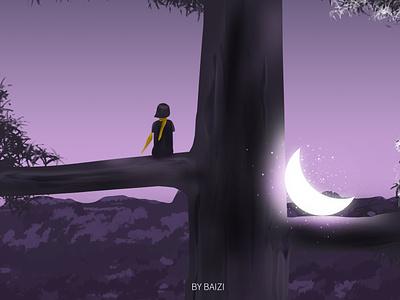 树上月 moon 插图 illustration