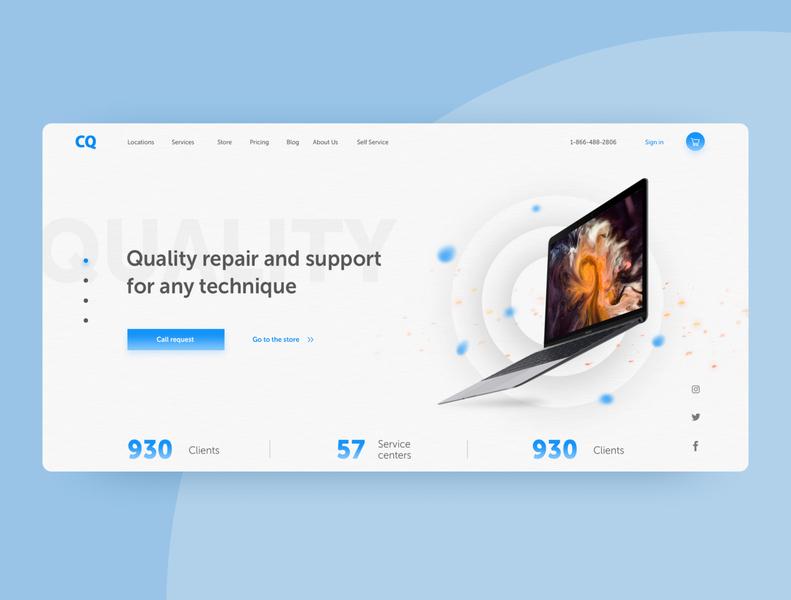 Website for equipment service, ligth theme. art vector minimal website web ui ux design