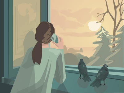 Sunset people illustration creativity girl talking on the phone pigeons sunset scenery