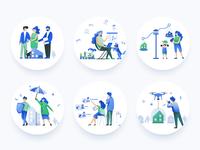 Homicity illustrations set