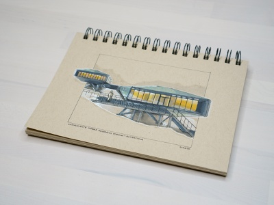 Comandante Ferraz Research Station (Antarctica) architectural illustration copicmarkers arctic drawing architecture inktober2020 sketch inktober