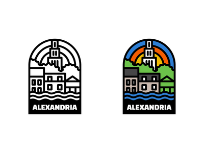 Alexandria sticker line art alexandria illustration badge
