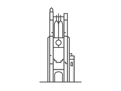 Beaumont Tower beaumont line vector print black white msu michigan state