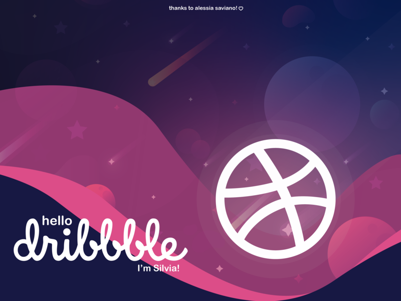 HELLO DRIBBBLE! ai first shoot space vector illustration illustrator design hello dribbble