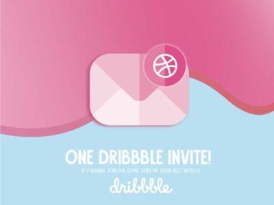 ONE DRIBBBLE INVITE! letter mail invitation dribbble invite invite hello dribbble ai illustrator vector giveaway