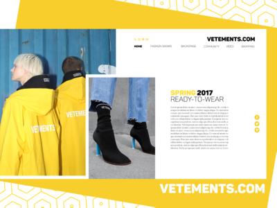 VETEMENTS.COM template ecommerce shop debut app homepage web web design yellow style fashion adobe xd ui-ux uiux design ui ux designer ui