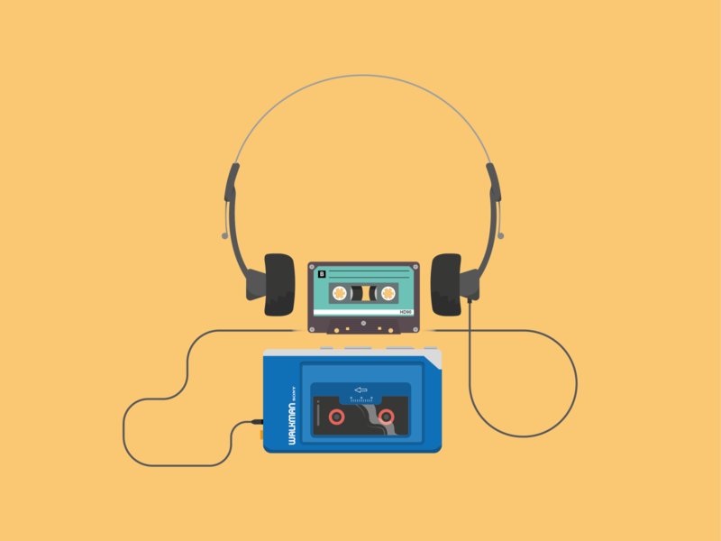 80's vibes music icon icon concept orange sound vintage music art music tapes tape vector illustration illustrator walkman