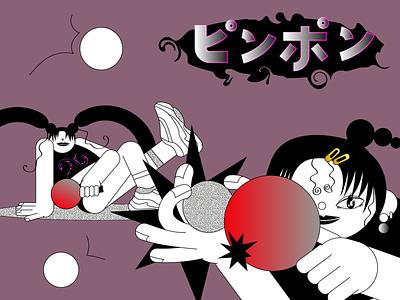 PING PONG FOR GIRLS pingpong sport girl adobe illustrator vector flat illustration illustration flat design
