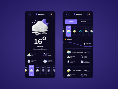 Weather App Design 🤘 flat vector ui cloudy graphic art icon illustration design app weather icons weather app