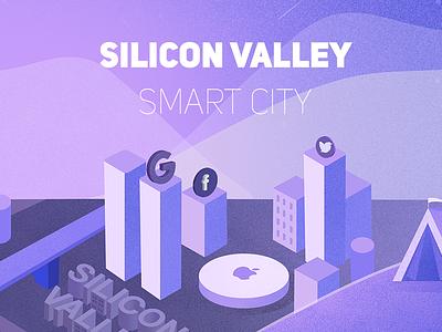 Silicon Valley Smart City purple illustration smart city silicon valley