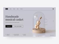 3D | Music casket design web landing music cinema4d c4d ui design ux design ux ui websites web design 3d