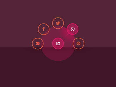 Social media radial nav ui radial navigation menu