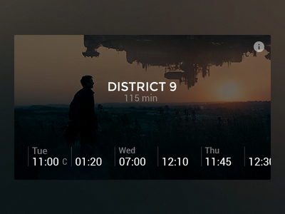 Movie session times web movie card dark ui