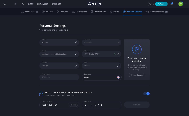 Profile personal settings 1440