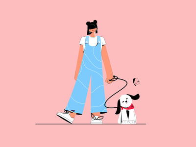 Walking out the dog cute animals flat adobe ilustrator 2d character illustrator illustration charater characterdesign