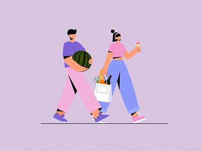 Couple Shopping 2dillustration adobe ilustrator flat 2d character illustrator illustration charater characterdesign