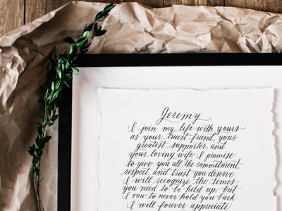 Hand Lettered Vows script type hand drawn custom hand lettering wedding vows