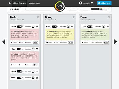 Agile Manager - Concept ui web application agile project management ux