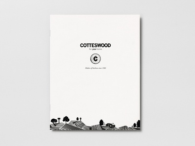 Cotteswood brochure print design monotone woodcut brand illustration