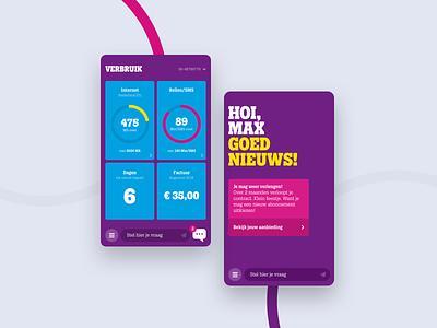 Tele2 app chatbot ux data mobile design ui layout typography agency app portfolio interface animation