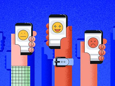 CSAT Announcement editorial watch hands phone emoji grain illustration