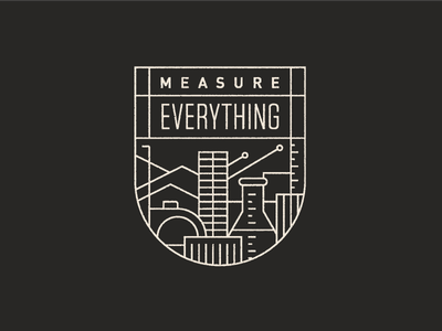Measure Badge monoline city flask ruler tape measure measure illustration icon values company badge