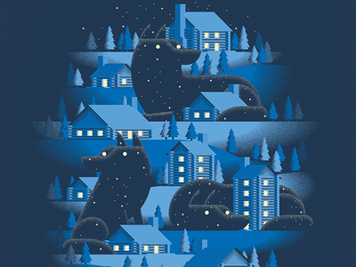 Dark Was the Night screen print pack wolf stars village trees night afterhours wilderness cabins wolves poster