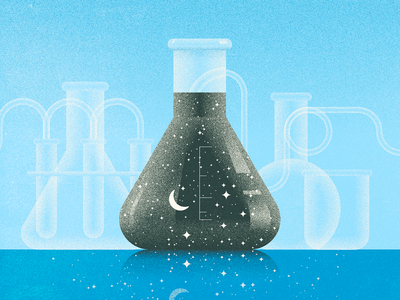 Erlenmeyer artists for education grain lab illustration astronomy stars flask beaker science
