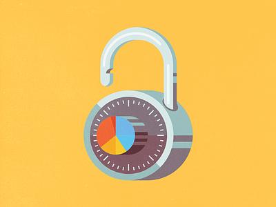 Unlock Data Potential gym locker padlock dial extrude illustration flat pie chart unlock lock combination