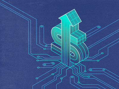 The Rise of Revenue Ops cube grid s arrow rise money revenue circuits isometric