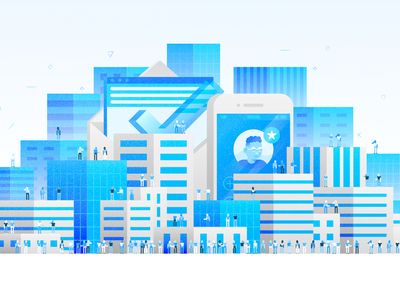 Test Drive Illo tech contact check phone skyline crowds people buildings blue city illustration