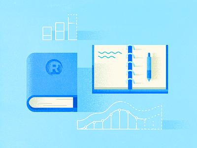 How do you use predictive? desk outline study blue grain pen graph notes notebook book