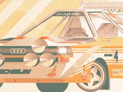Quattro S1 E2 wheels wave synth sun rally quattro mountains illustration geometric car audi 80s