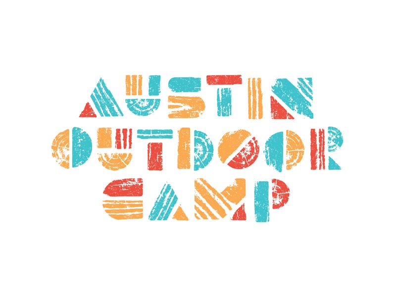 Austin Outdoor Camp type geometric stamp ink print block wood camp summer austin branding logo