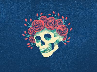 casey jones and company dead grateful long strange trip roses skull illustration