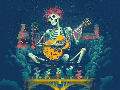 Dead and Company Poster - Austin bats trees lake skyline guitar austin and company dead grateful roses skeleton illustration