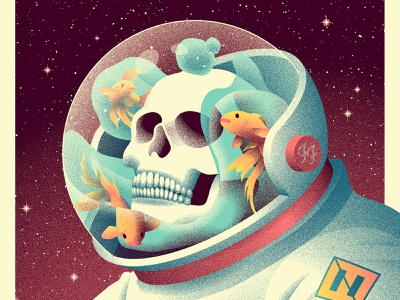 Foo Fighters Denver Poster bowl grain skull fish water space helmet stars austronaut space illustration foo fighters