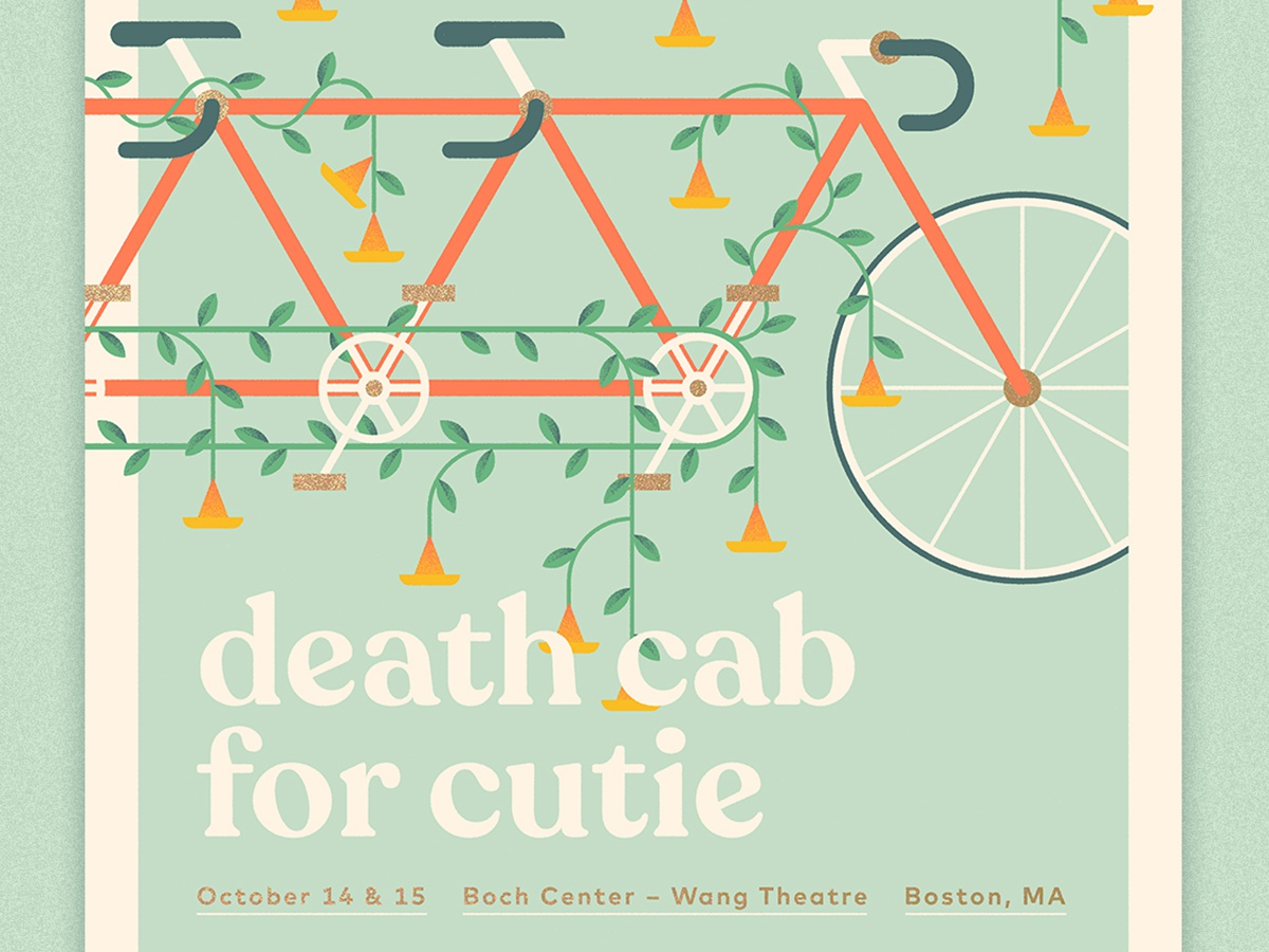 Death Cab for Cutie - Boston Poster bicycle tandem cycle vince trumpet chain wheel crank flora poster illustration grain screen print