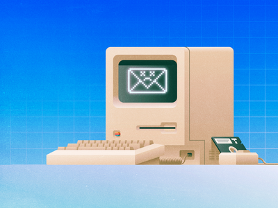 Email is dead retro mouse keyboard computer grain vintage illustration dead floppy apple mac 128k macintosh email