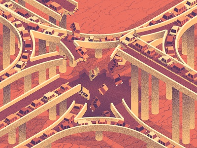 PUP Tour Poster sinkhole collapse traffic cars overpass highway isometric grain illustration