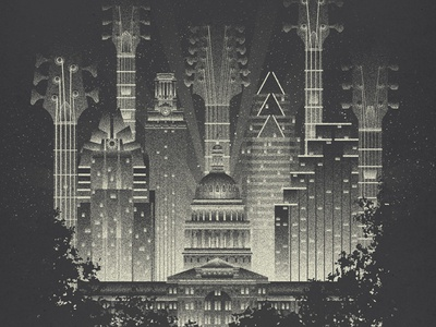 Live Music Capital glow lights night music texture grain guitars bass skyline city austin texas live music capital art deco screenprint