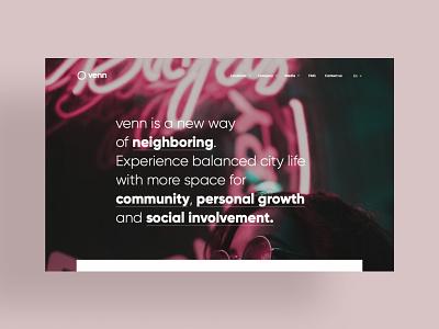 Venn Homepage Web covers interfaces community neighborhood web ui web design website homepage