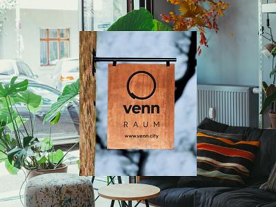 Venn Berlin - Coworking Sign branding recycled wood community coworking vintage design sign berlin venn