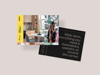 Venn Postcard layout branding marketing design photography black minimal collage postcard
