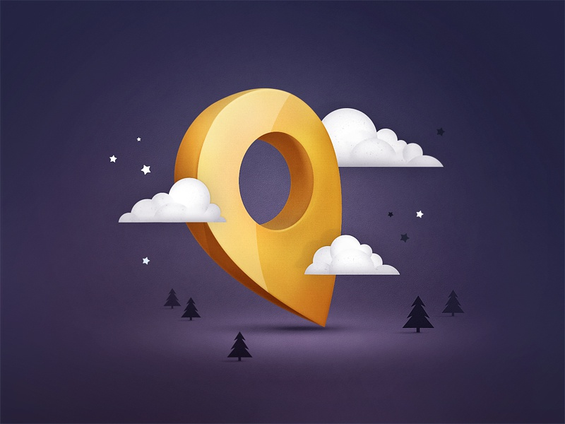 Night Check logo illustration mark map pin location icon night cloud tree